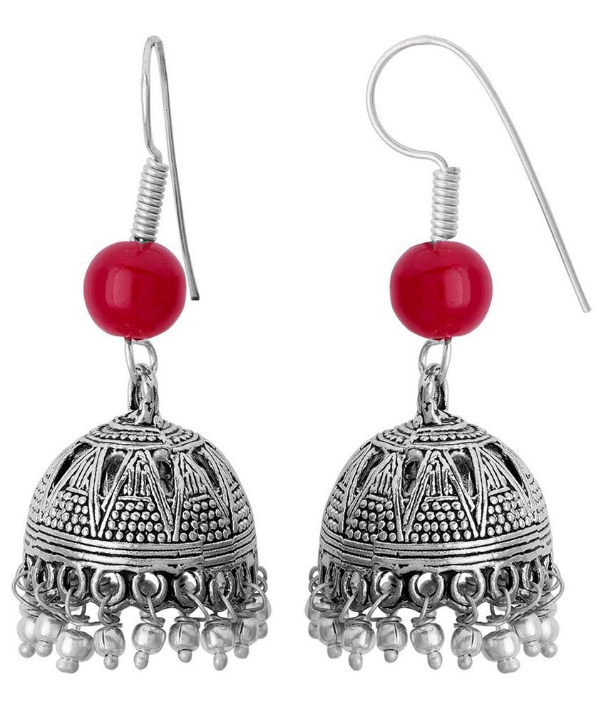 31a4960bf Jhumka Earrings with Oxidised Silver Plating Jhumka Earrings with Oxidised  Silver Plating ...