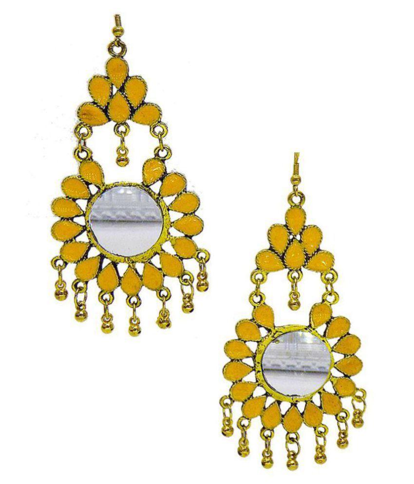 Kavoo Fancy Look Yellow Color Afghani Earrings