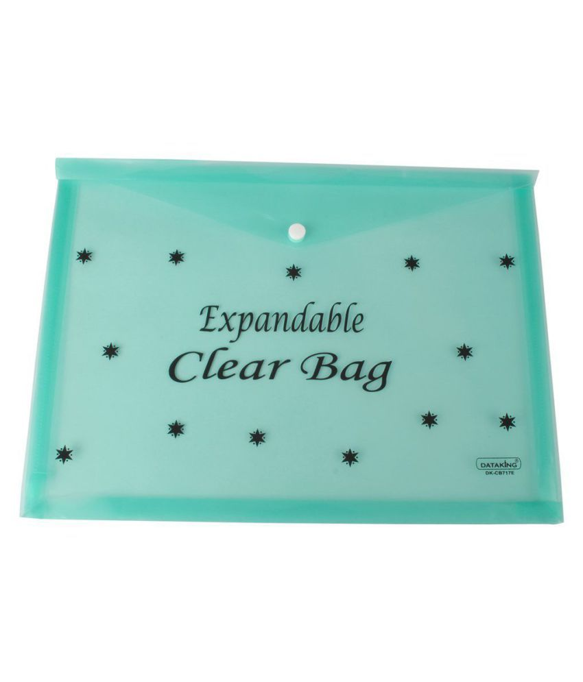 DataKing Expandable Clear Bag With Star Print, Set Of 10, , Color: Green, Size: FC.