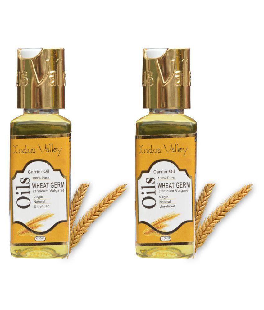 Indus Valley Unrefined , Natural, Pure & Virgin Wheat Germ Oil( Vitamin E Oil) For Hair Nourishment & Treats Skin Acne & Scars- Set of 2(100 ml)