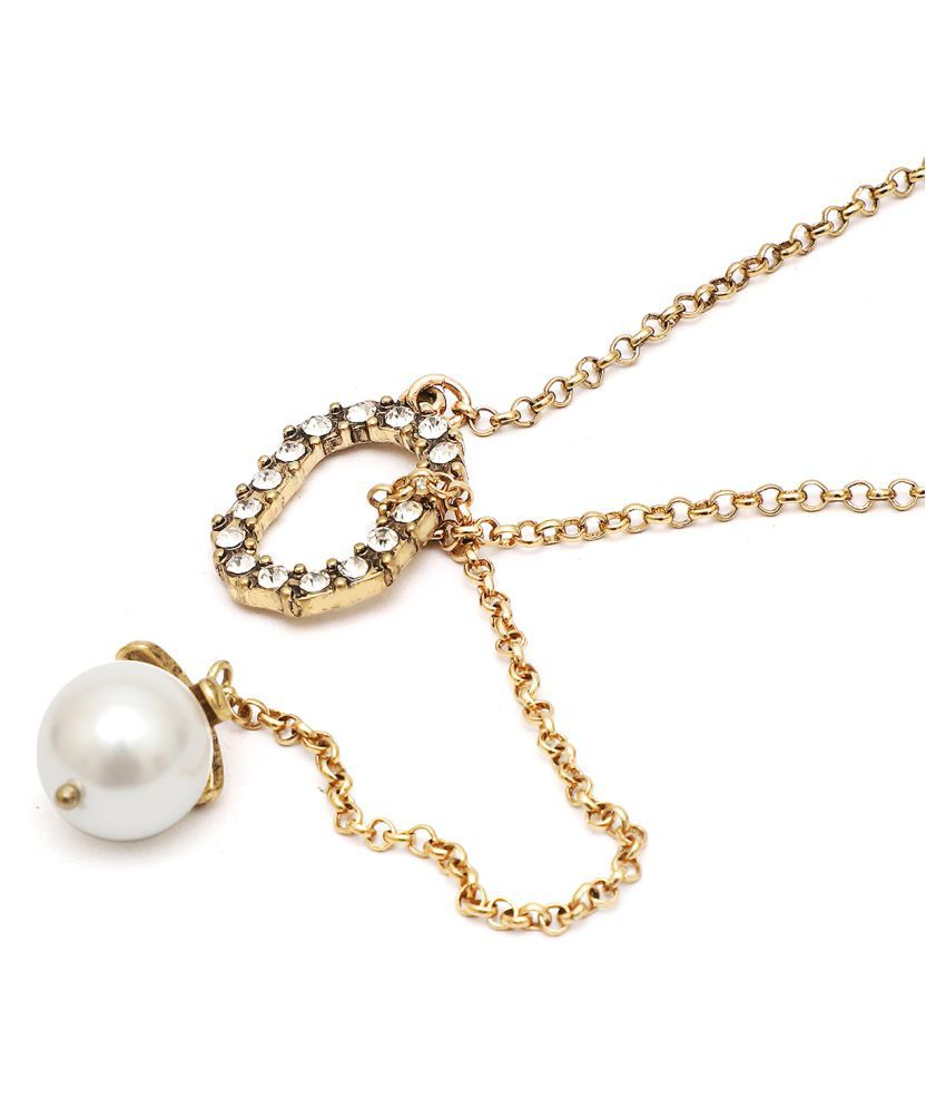 Popmode Lariat pearl and cubic zirconia Necklace
