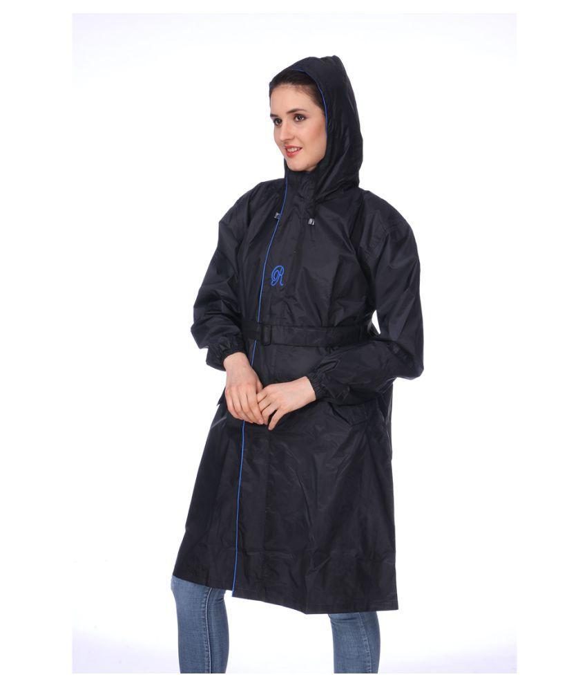 REAL Nylon Long Raincoat - Black