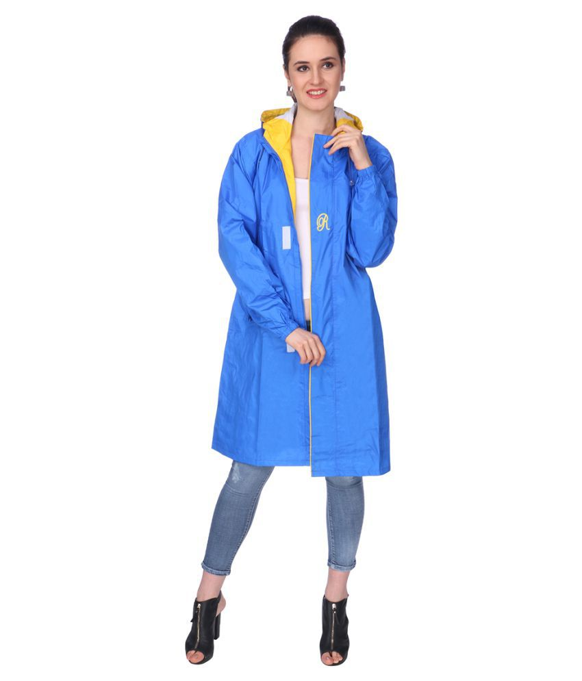 REAL Nylon Long Raincoat - Blue