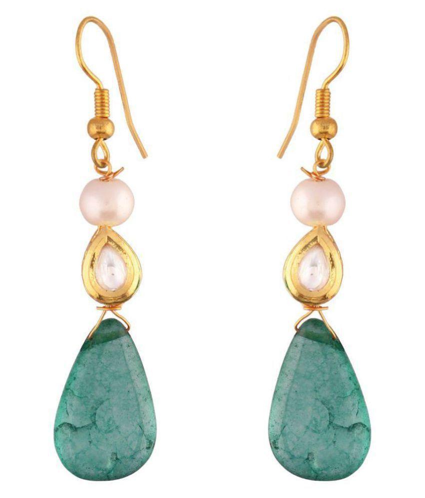 AccessHer Kundan and emrald pearl drop earrings for women