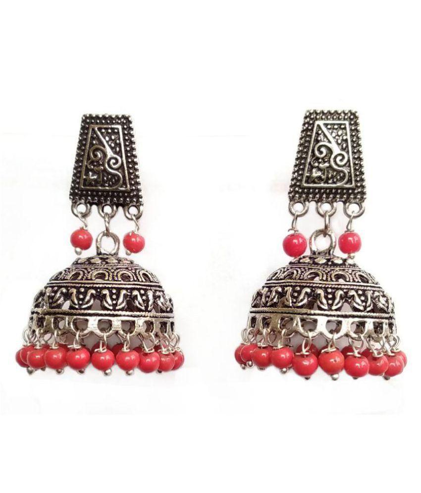 Zurii Silver oxidized red beads  party wear jhumki Earring.