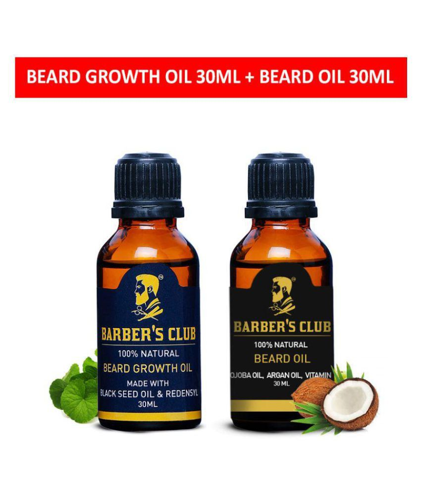 Barber's Club Beard Growth Oil + Beard Oil with Argan Oil (100% Organic &  Natural) -30ml each (Beard essentials combo)