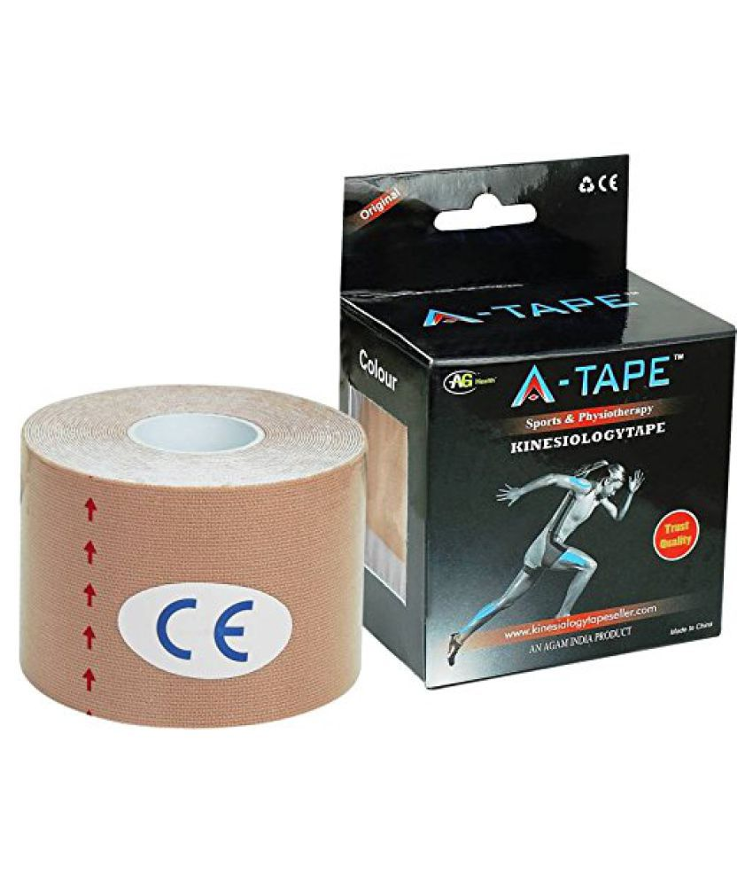 A-TAPE Kinesiology Tape Knee, Calf & Knee, Calf & Thigh Support (Free Size, Beige) Free Size
