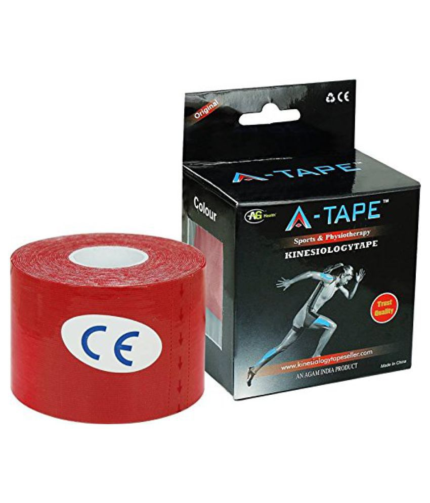 A-TAPE Kinesiology Tape Knee, Calf & Thigh Support (Free Size, Red) Free Size