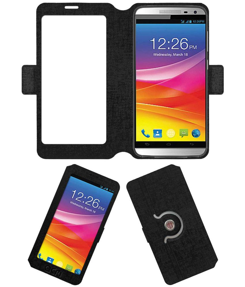 Micromax Canvas Juice 2 Flip Cover by ACM - Black