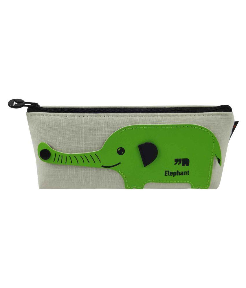 3fad891e95a6 ... Bag of Small Things Premium Designer Fabric Pencil Pen Case Pouch  School Elephant Green ...