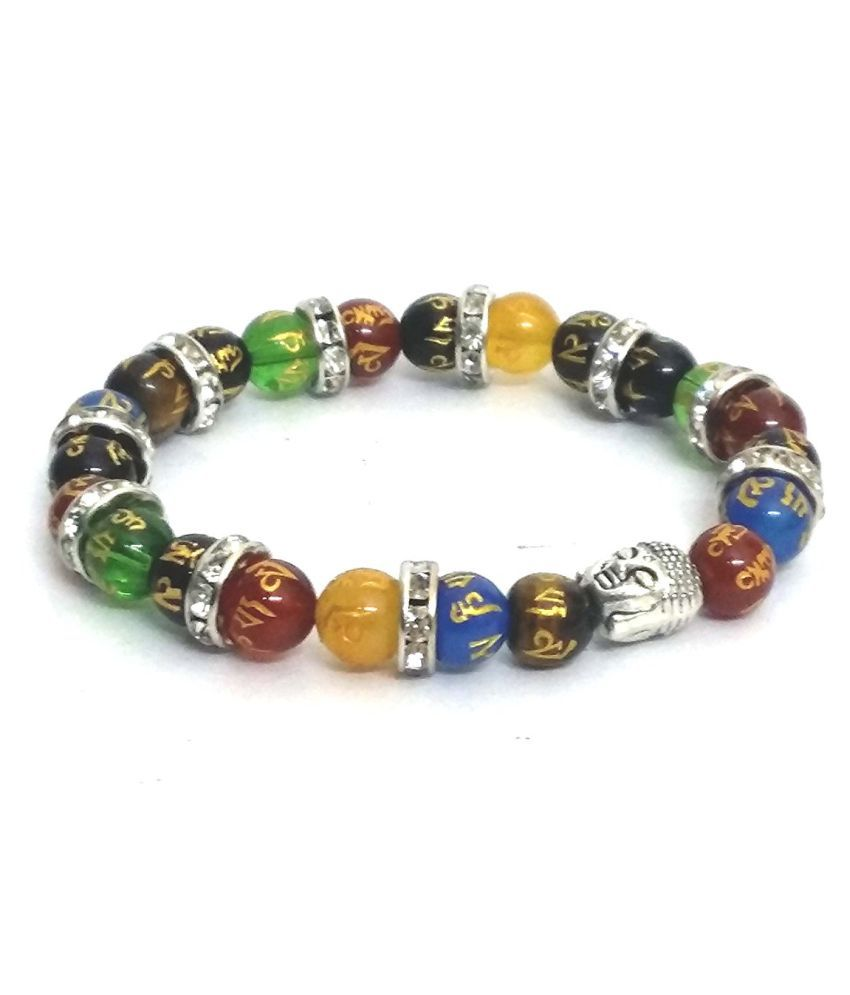TIBETAN MULTICOLOR OM MANI ENGRAVED SEMIPRECIOUS STONES JIRCON FINISHED BRACELET