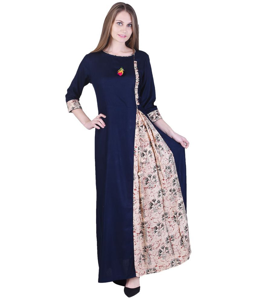 Adesa Navy Rayon Straight Stitched Suit