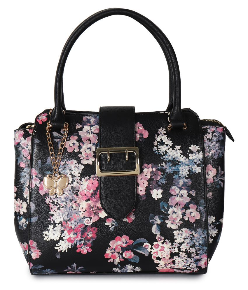 Butterflies Black P.U. Shoulder Bag