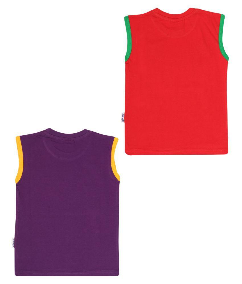 Dongli Cotton Boys Printed Sleeveless Tshirts(Pack of 2)