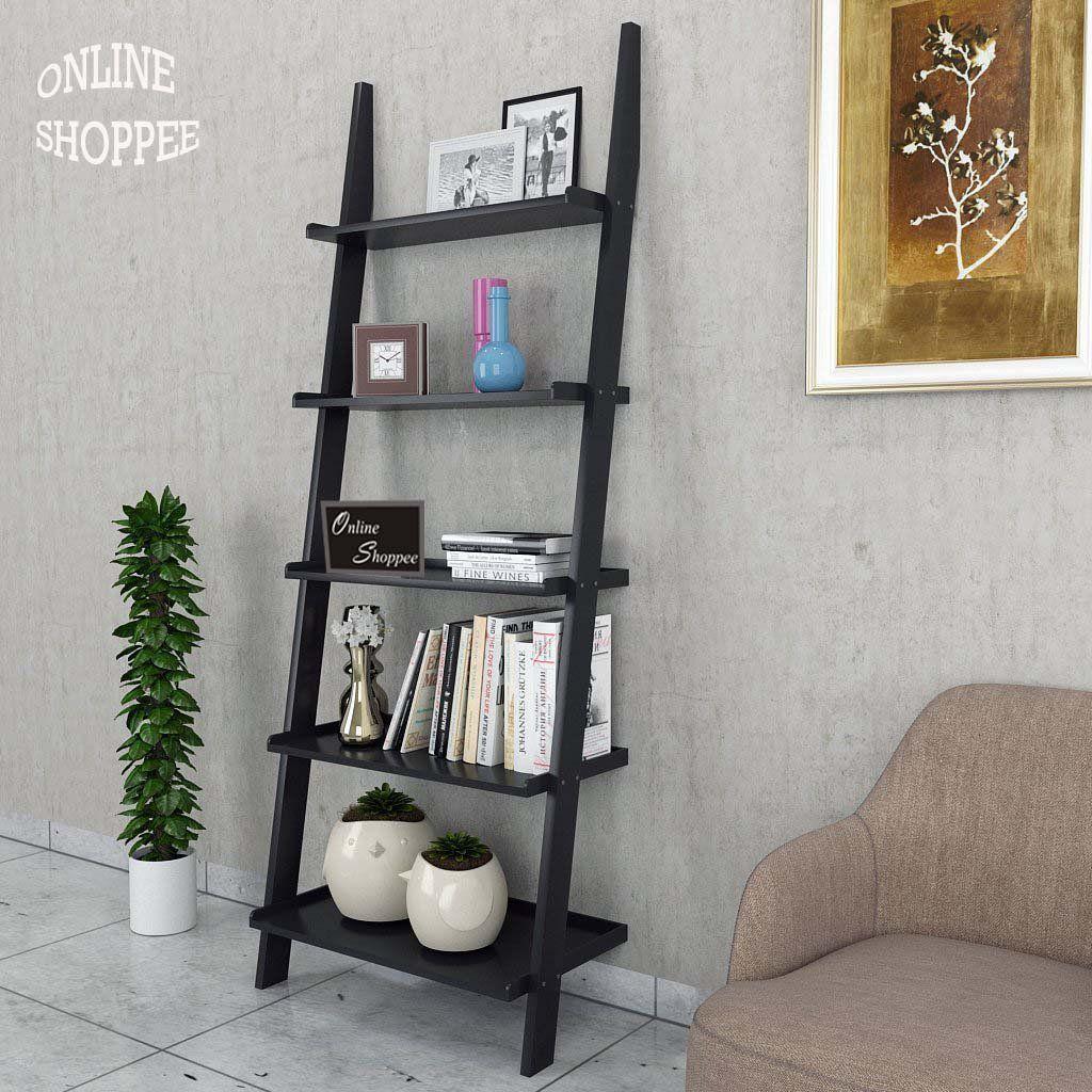 Onlineshoppee Leaning Bookcase Ladder and Room Organizer Engineered Wood Wall Shelf -Black ... & Onlineshoppee Leaning Bookcase Ladder and Room Organizer Engineered ...