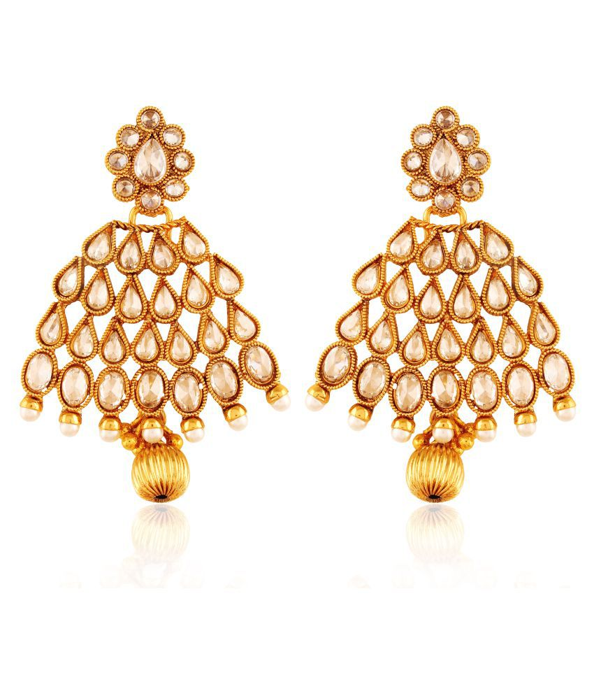 AccessHer Copper Antique Royal American Diamond Droplet Leaf Dangling Earrings