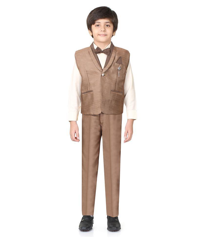 Jeet Brown Silk Boys Waistcoat Set