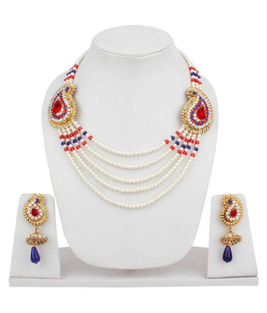 Jewels Capital Exclusive Red Blue Necklace Set