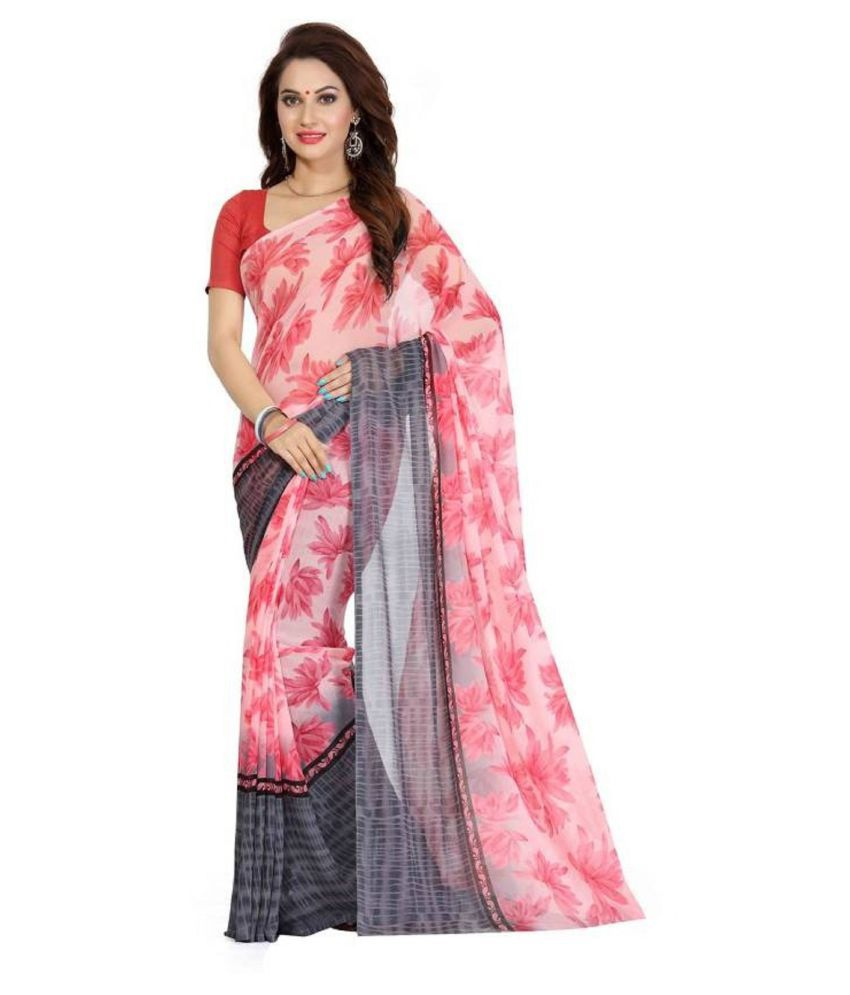 Navanya Couture Pink Georgette Saree