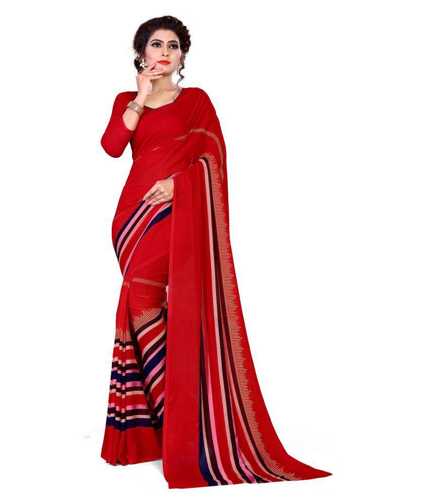 Siha Enterprises Red Renial Saree