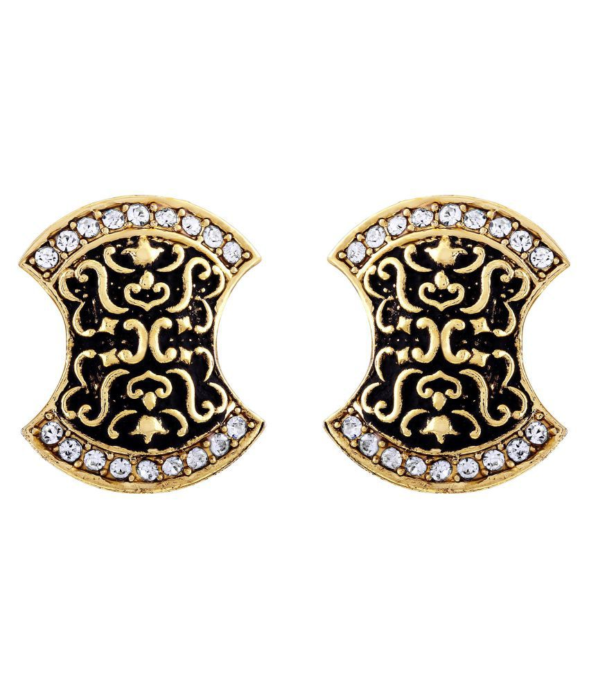 Asmitta Divine Designer Gold Plated Oxidized Studs Earring For Women