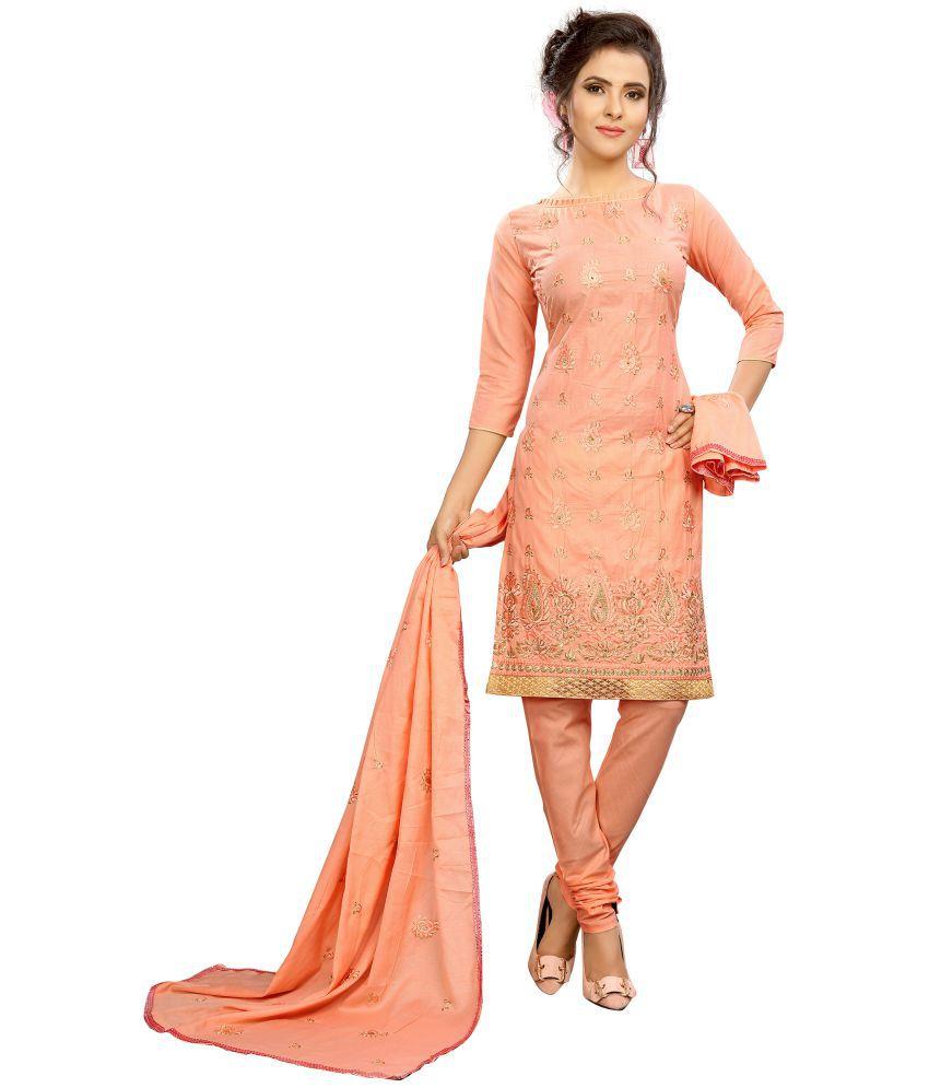 Minu Pink Cotton A-line Stitched Suit