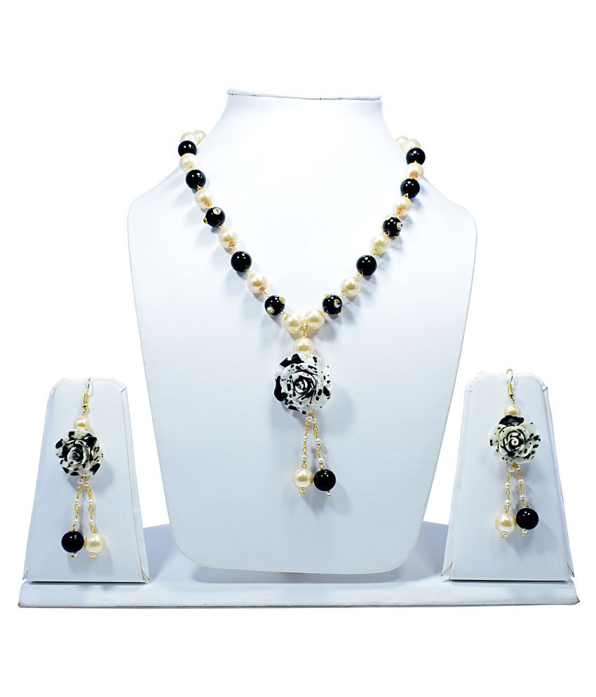 Cheapest # Free Shipping Moti Pearl With Adorable Colorful Rose Flower Necklace Set With Earrings For Women & Girls