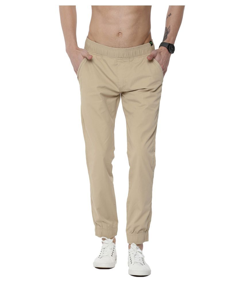 FIFTY TWO Cream Regular -Fit Flat Joggers