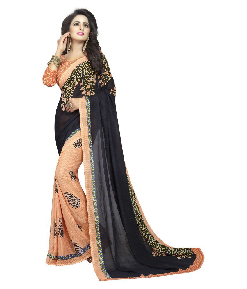 Navanya Couture Black and Beige Georgette Saree