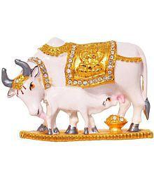 SCrazeHub Kamdhenu Cow Brass Idol - Pack of 1