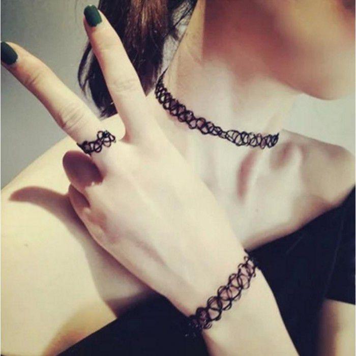 Bandish Black Choker Necklaces Combo Set