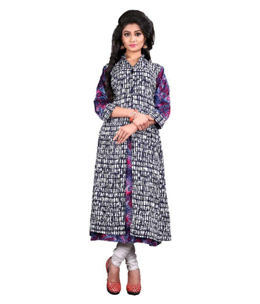 HI FI FASHIONS Multicoloured Rayon Anarkali Kurti