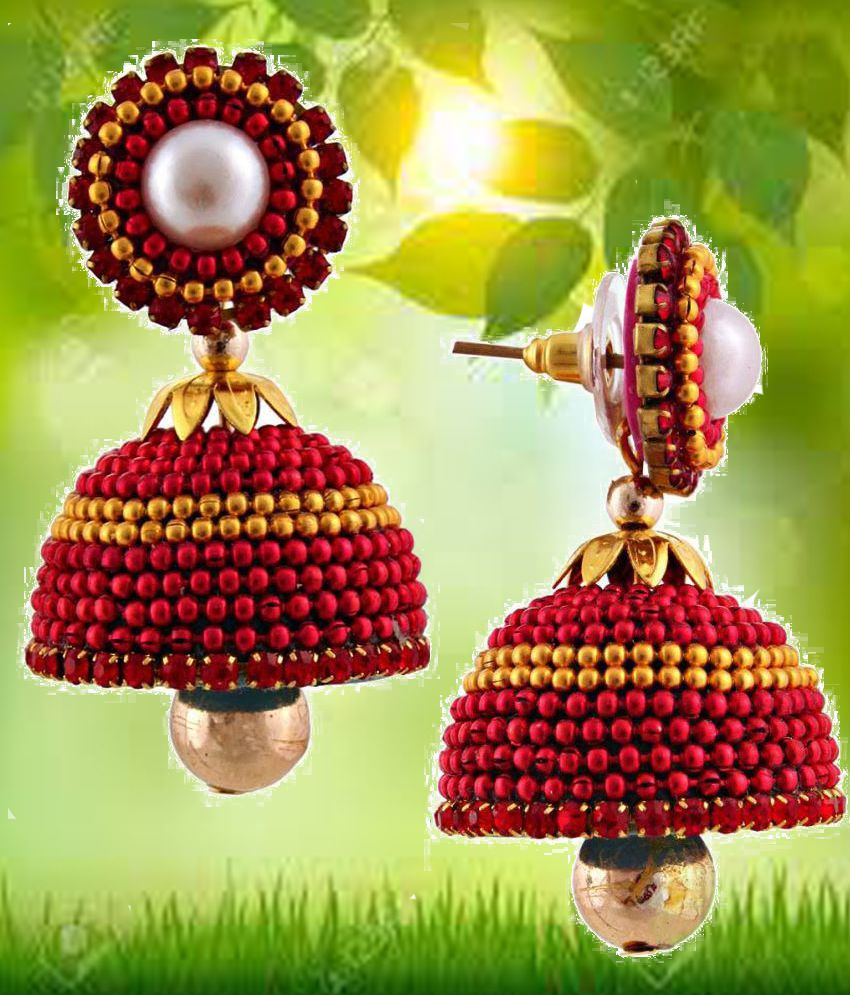 Halowishes Red Enamel Jhumkis