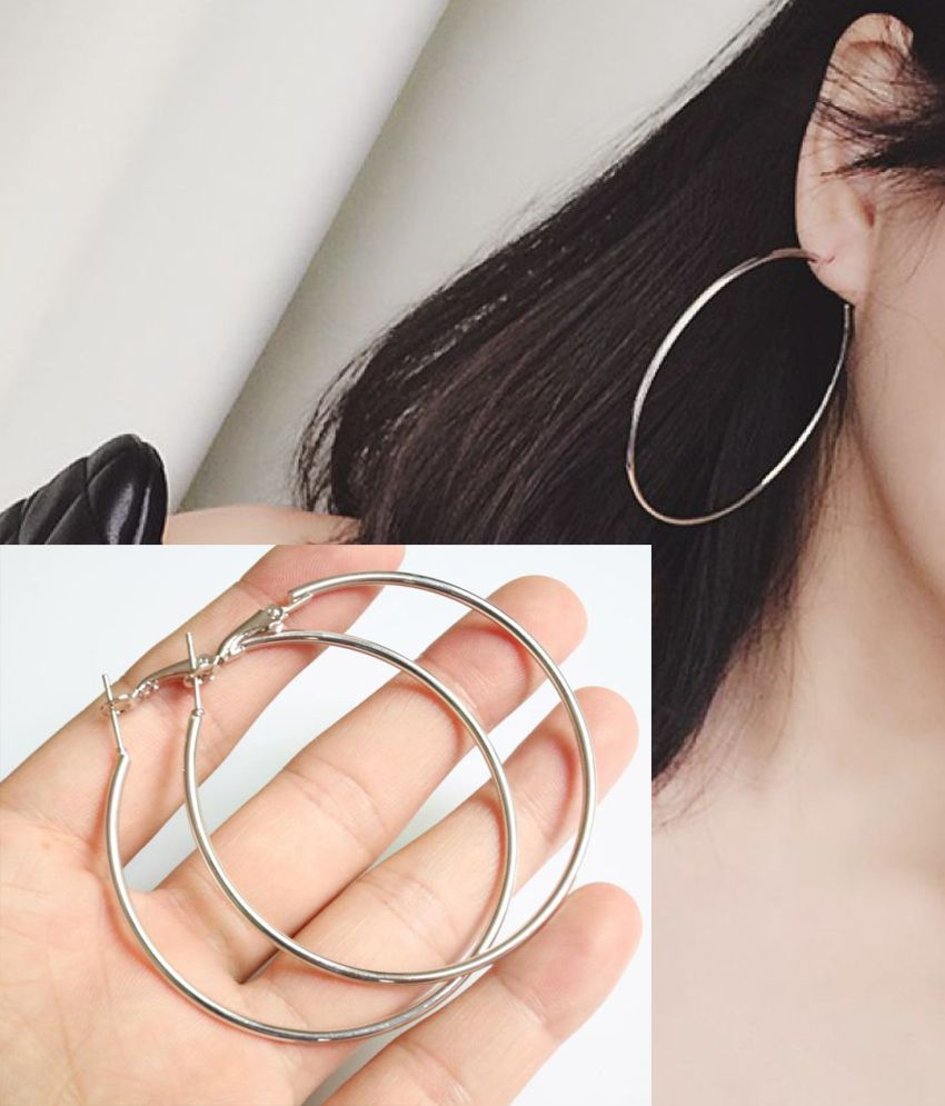 STRIPES Presents Silver Rhodium Polish, Big Hoop Earrings for Women / Girls