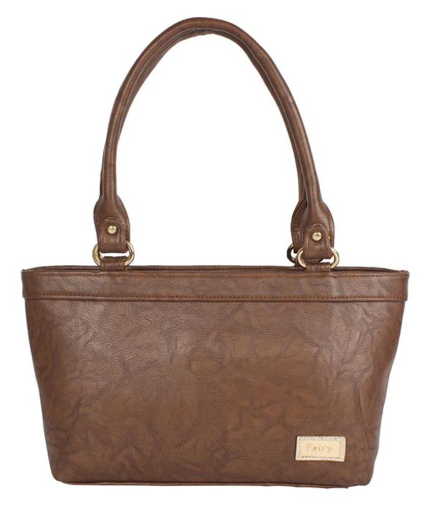 Aliado Brown Faux Leather Tote Bag