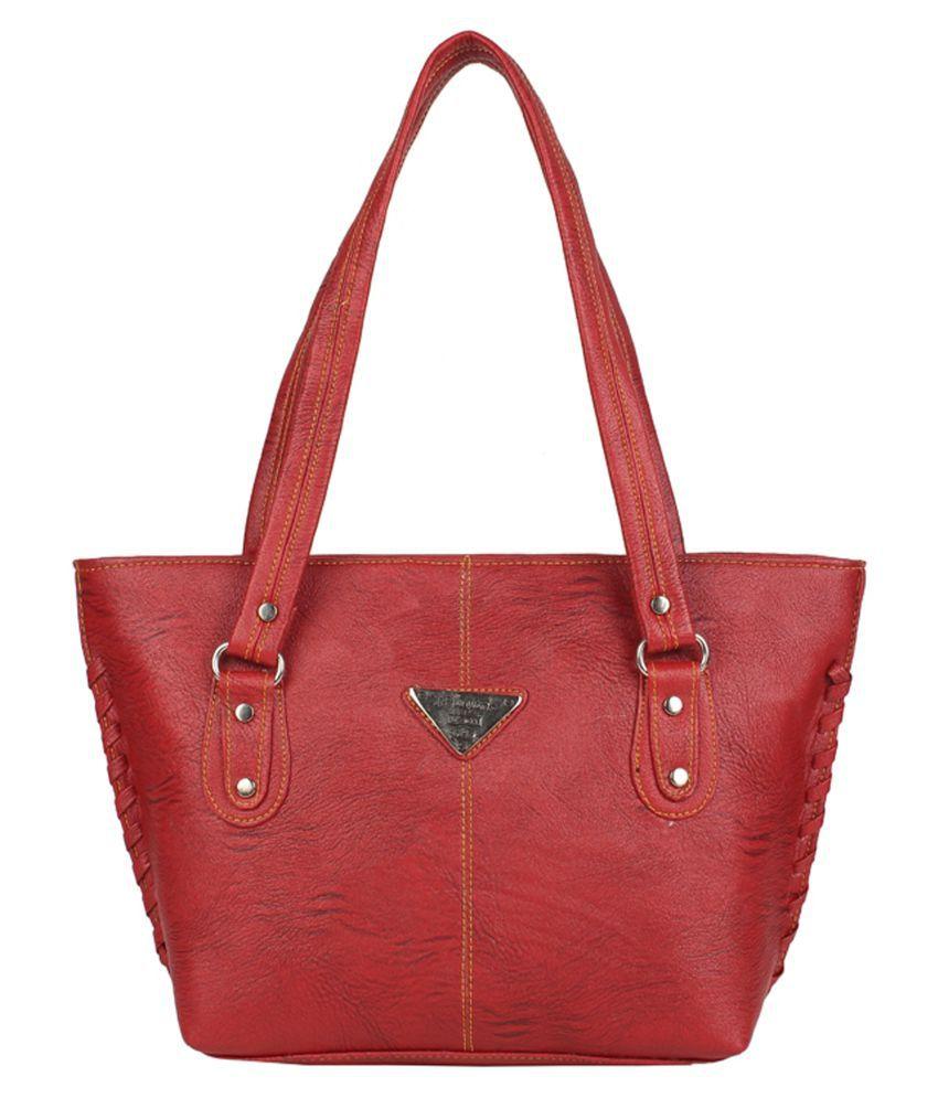 Aliado Maroon Faux Leather Tote Bag