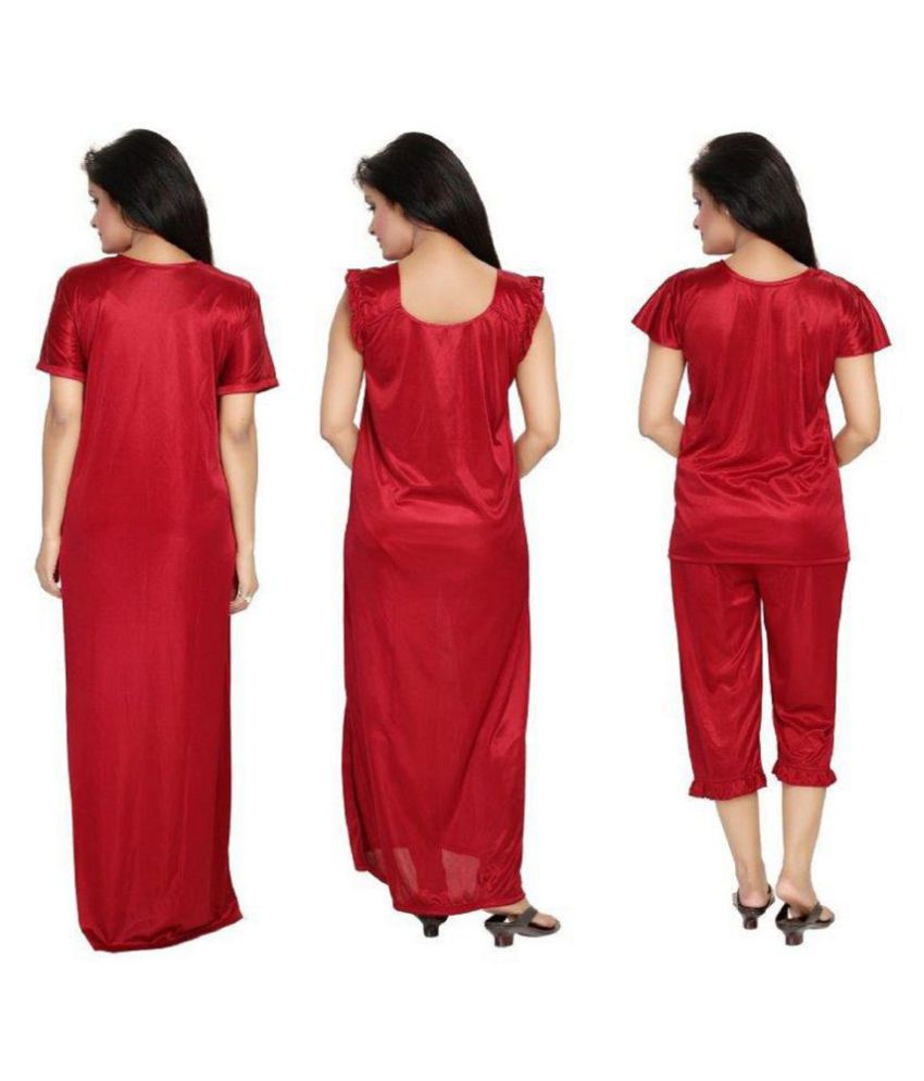 675af28dc7 Buy DILJEET Satin Nightsuit Sets - Maroon Online at Best Prices in India -  Snapdeal