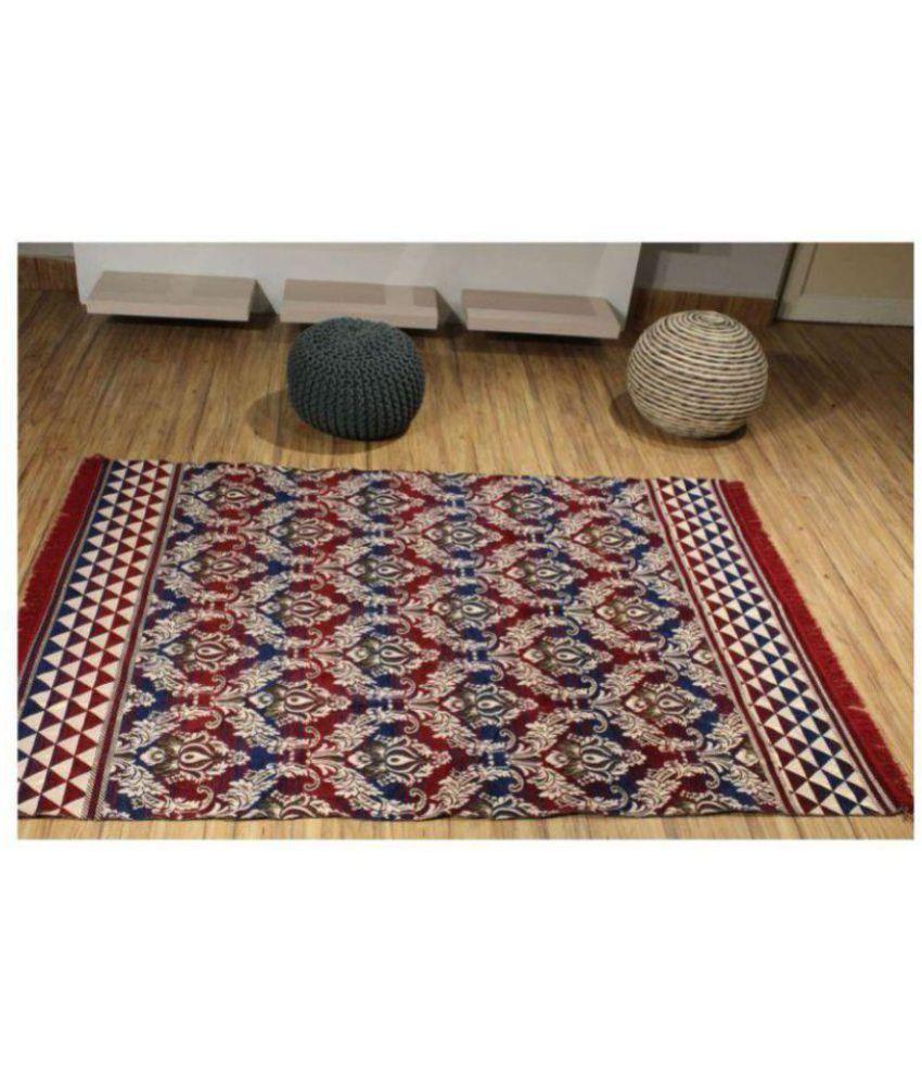 Kaizen Decor Multi Cotton Carpet Floral 5X7 Ft.