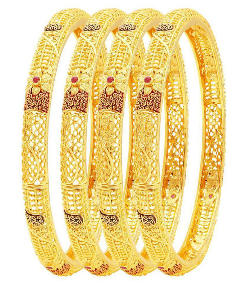 MFJ Fashion Jewellery Designer Collection Gold Plated Bangle For Women (Set of 4)