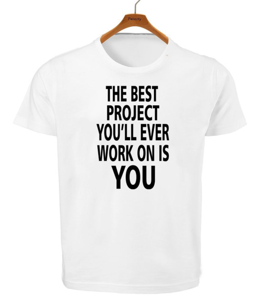 RITZEES White Dry Fit Polyester Tshirt on Modern Quotes