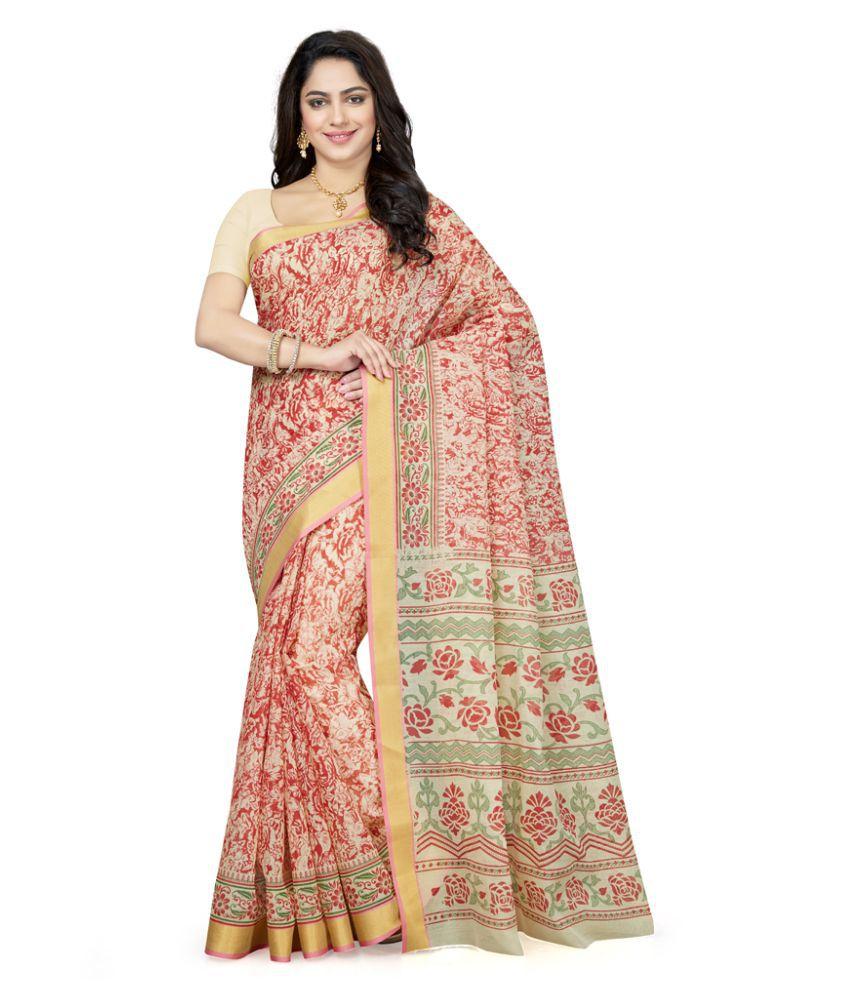 Saree Swarg Red Cotton Blend Saree