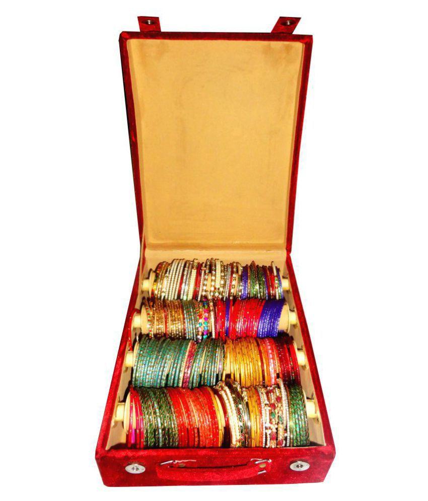 Sarohi 4 Roll Rod Wodden Velvet Bangles Box