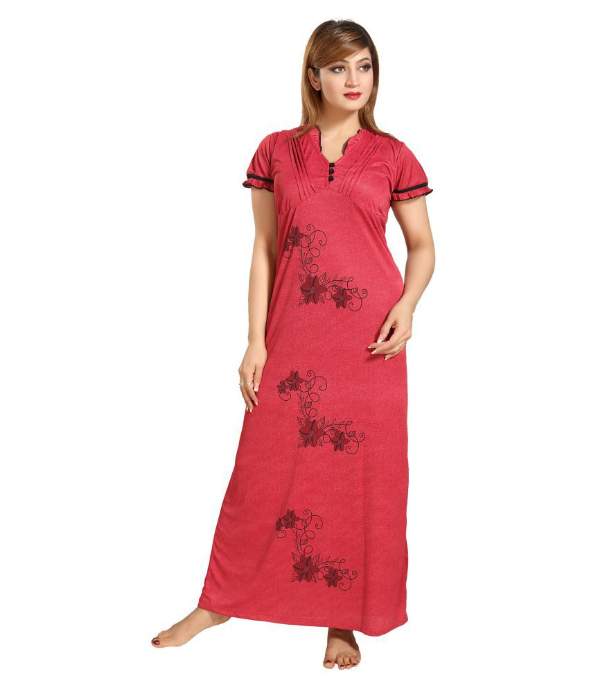 Shopping Station Satin Nighty & Night Gowns - Red