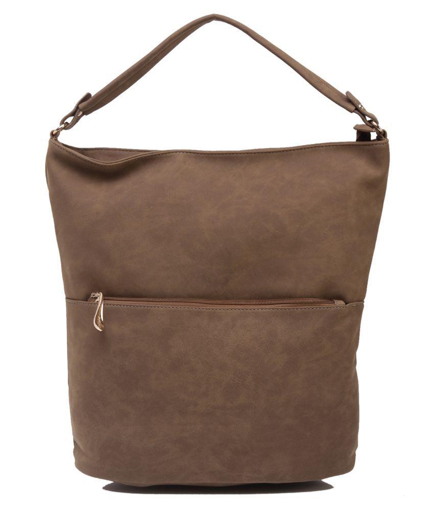Fiona Trends Khaki P.U. Shoulder Bag