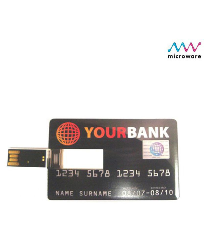 Microware Credit Card Shape 8GB USB 2.0 Fancy Pendrive Pack of 1