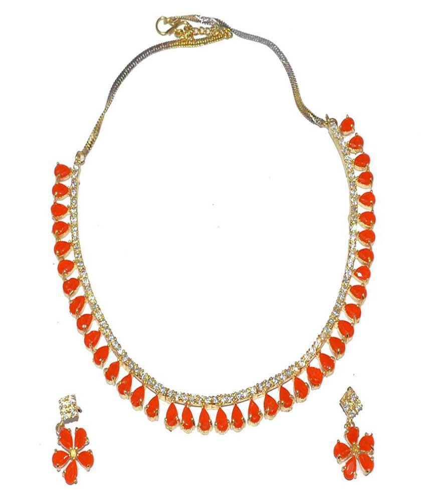 Jewels Kafe Semi Precious With Cz Cutting Stones Necklace Set For Women