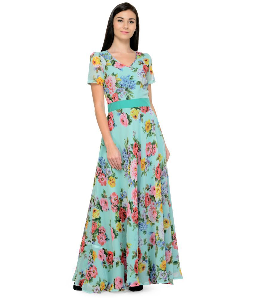 1008ee14546 Just Wow Georgette Multi Color Fit And Flare Dress - Buy Just Wow Georgette  Multi Color Fit And Flare Dress Online at Best Prices in India on Snapdeal