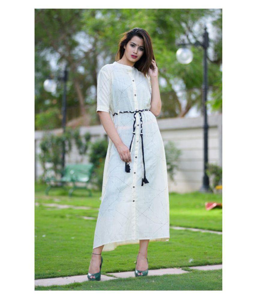 Samayra Looks White Rayon A-line Kurti