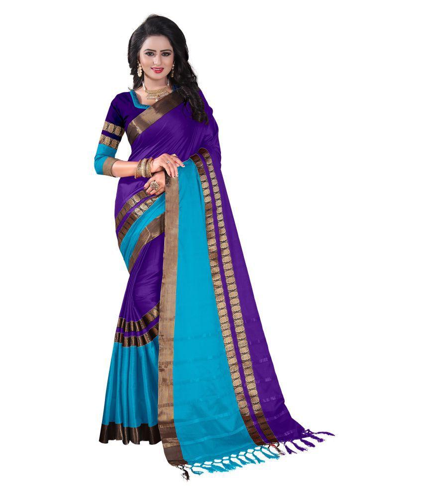 Niketan Ethnic Purple Cotton Saree
