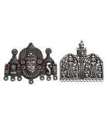 Rai Collection Women Fashion Designer Silver Oxidized Strand Necklace Pendant Sets of two Jewellery Making Modern Stylish Classy Indian Festive Occasion Fancy Artificial